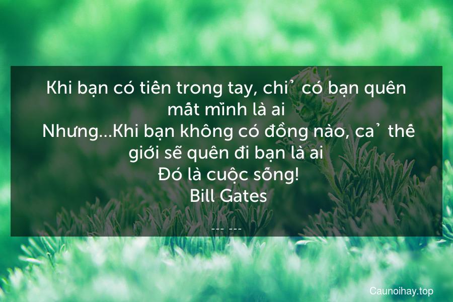 Khi bạn có tiền trong tay, chỉ có bạn quên mất mình là ai. Nhưng…Khi bạn không có đồng nào, cả thế giới sẽ quên đi bạn là ai. Đó là cuộc sống!  Bill Gates