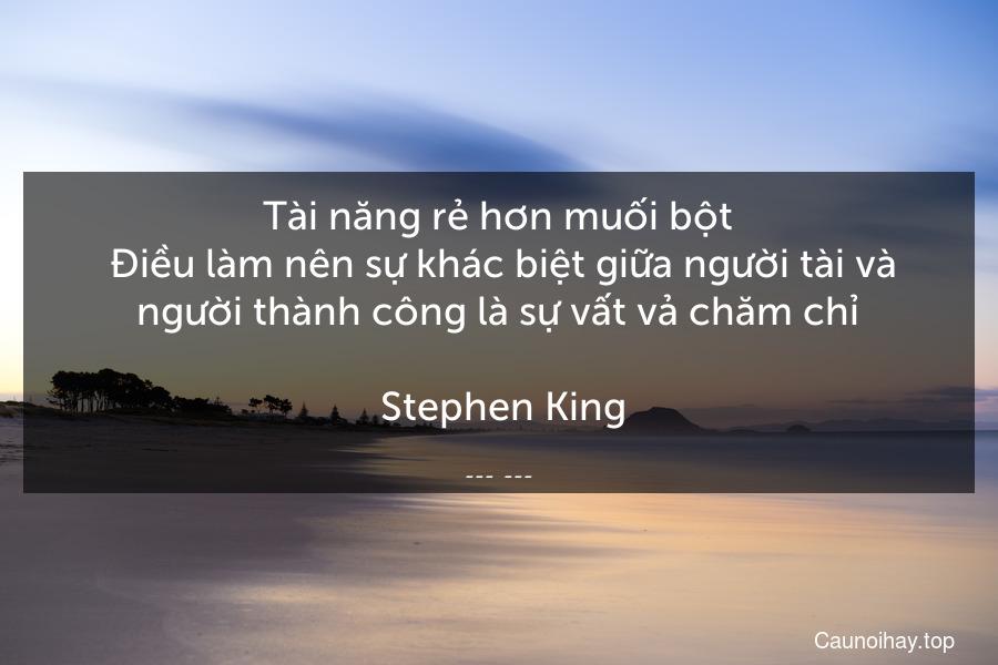 Tài năng rẻ hơn muối bột. Điều làm nên sự khác biệt giữa người tài và người thành công là sự vất vả chăm chỉ.  Stephen King