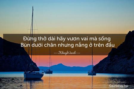 Đừng thở dài hãy vươn vai mà sống. Bùn dưới chân nhưng nắng ở trên đầu.