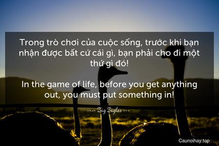 Trong trò chơi của cuộc sống, trước khi bạn nhận được bất cứ cái gì, bạn phải cho đi một thứ gì đó! - In the game of life, before you get anything out, you must put something in!