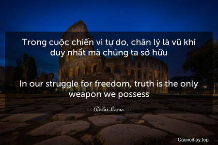 Trong cuộc chiến vì tự do, chân lý là vũ khí duy nhất mà chúng ta sở hữu. - In our struggle for freedom, truth is the only weapon we possess.