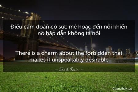 Điều cấm đoán có sức mê hoặc đến nỗi khiến nó hấp dẫn không tả nổi. - There is a charm about the forbidden that makes it unspeakably desirable.