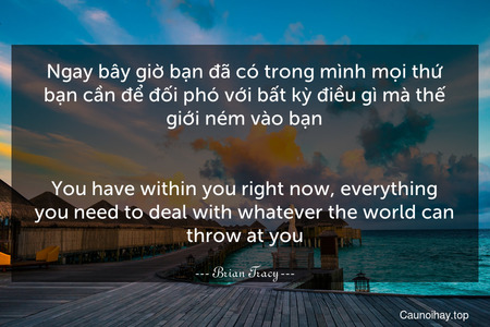 Ngay bây giờ bạn đã có trong mình mọi thứ bạn cần để đối phó với bất kỳ điều gì mà thế giới ném vào bạn.