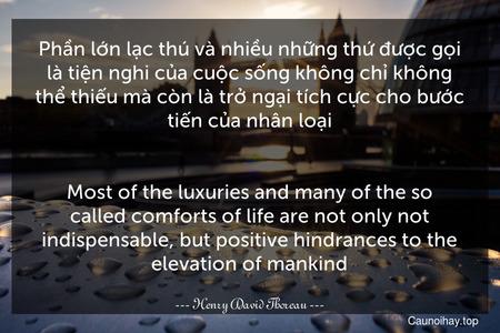 Phần lớn lạc thú và nhiều những thứ được gọi là tiện nghi của cuộc sống không chỉ không thể thiếu mà còn là trở ngại tích cực cho bước tiến của nhân loại. - Most of the luxuries and many of the so-called comforts of life are not only not indispensable, but positive hindrances to the elevation of mankind.