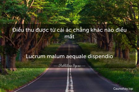Điều thu được từ cái ác chẳng khác nào điều mất. - Lucrum malum aequale dispendio.