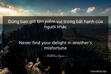 Đừng bao giờ tìm niềm vui trong bất hạnh của người khác. - Never find your delight in another's misfortune.