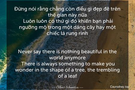 Đừng nói rằng chẳng còn điều gì đẹp đẽ trên thế gian này nữa. Luôn luôn có thứ gì đó khiến bạn phải ngưỡng mộ trong một dáng cây hay một chiếc lá rung rinh. - Never say there is nothing beautiful in the world anymore. There is always something to make you wonder in the shape of a tree, the trembling of a leaf.