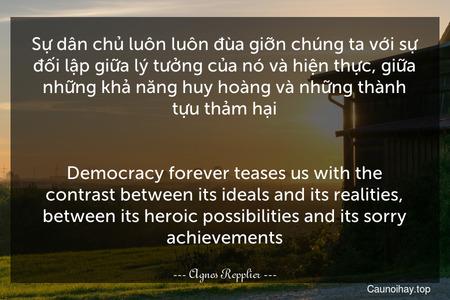 Sự dân chủ luôn luôn đùa giỡn chúng ta với sự đối lập giữa lý tưởng của nó và hiện thực, giữa những khả năng huy hoàng và những thành tựu thảm hại. - Democracy forever teases us with the contrast between its ideals and its realities, between its heroic possibilities and its sorry achievements.