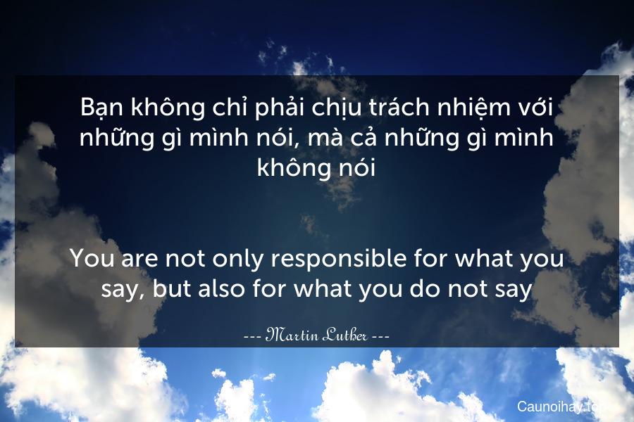 Bạn không chỉ phải chịu trách nhiệm với những gì mình nói, mà cả những gì mình không nói. - You are not only responsible for what you say, but also for what you do not say.