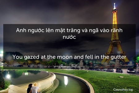 Anh ngước lên mặt trăng và ngã vào rãnh nước. - You gazed at the moon and fell in the gutter.