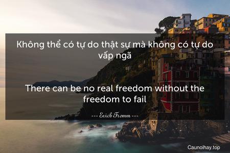 Không thể có tự do thật sự mà không có tự do vấp ngã. - There can be no real freedom without the freedom to fail.