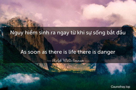 Nguy hiểm sinh ra ngay từ khi sự sống bắt đầu. - As soon as there is life there is danger.