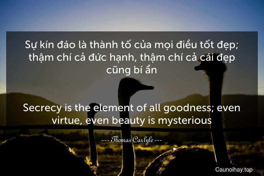 Sự kín đáo là thành tố của mọi điều tốt đẹp; thậm chí cả đức hạnh, thậm chí cả cái đẹp cũng bí ẩn. - Secrecy is the element of all goodness; even virtue, even beauty is mysterious.