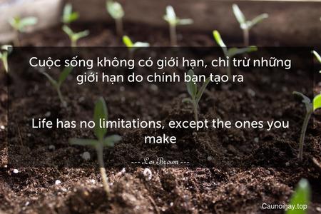 Cuộc sống không có giới hạn, chỉ trừ những giới hạn do chính bạn tạo ra. - Life has no limitations, except the ones you make.