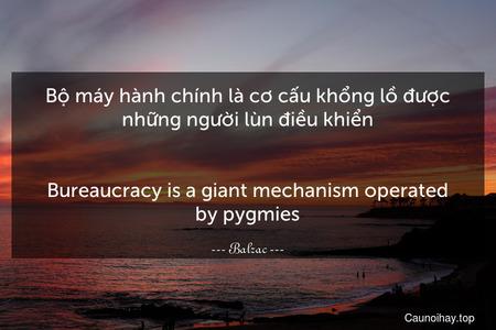Bộ máy hành chính là cơ cấu khổng lồ được những người lùn điều khiển. - Bureaucracy is a giant mechanism operated by pygmies.