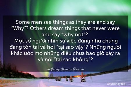 """Some men see things as they are and say """"Why""""? Others dream things that never were and say """"why not""""?   Một số người nhìn sự việc đúng như chúng đang tồn tại và hỏi """"tại sao vậy""""? Những người khác ước mơ những điều chưa bao giờ xảy ra và nói """"tại sao không""""?"""