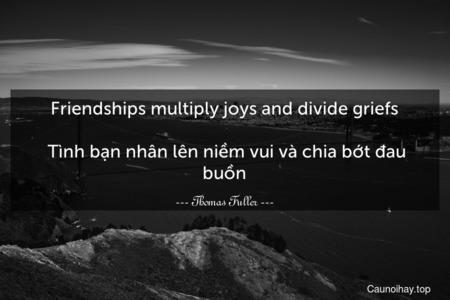 Friendships multiply joys and divide griefs.  Tình bạn nhân lên niềm vui và chia bớt đau buồn.