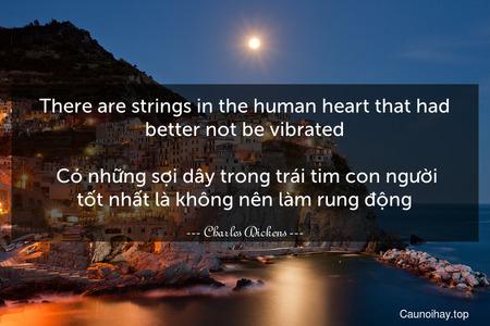 There are strings in the human heart that had better not be vibrated.  Có những sợi dây trong trái tim con người tốt nhất là không nên làm rung động.