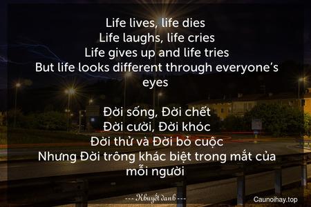 Life lives, life dies. Life laughs, life cries. Life gives up and life tries. But life looks different through everyone's eyes.  Đời sống, Đời chết. Đời cười, Đời khóc. Đời thử và Đời bỏ cuộc. Nhưng Đời trông khác biệt trong mắt của mỗi người.