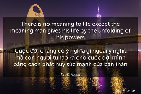 There is no meaning to life except the meaning man gives his life by the unfolding of his powers.   Cuộc đời chẳng có ý nghĩa gì ngoài ý nghĩa mà con người tự tạo ra cho cuộc đời mình bằng cách phát huy sức mạnh của bản thân.