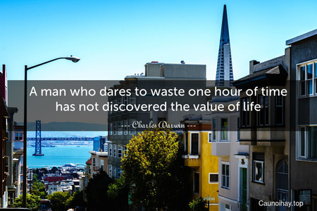 A man who dares to waste one hour of time has not discovered the value of life.