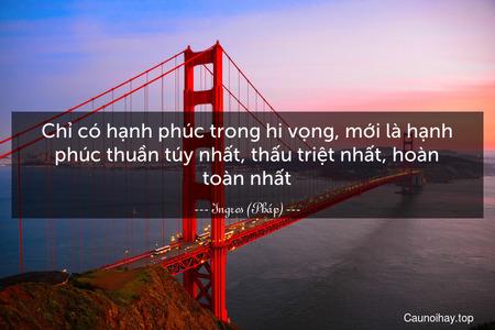 Chỉ có hạnh phúc trong hi vọng, mới là hạnh phúc thuần túy nhất, thấu triệt nhất, hoàn toàn nhất.