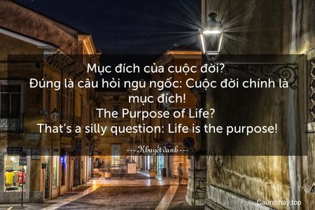 Mục đích của cuộc đời?   Đúng là câu hỏi ngu ngốc: Cuộc đời chính là mục đích! The Purpose of Life?  That's a silly question: Life is the purpose!