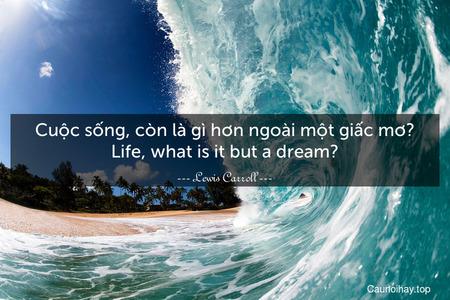 Cuộc sống, còn là gì hơn ngoài một giấc mơ? Life, what is it but a dream?