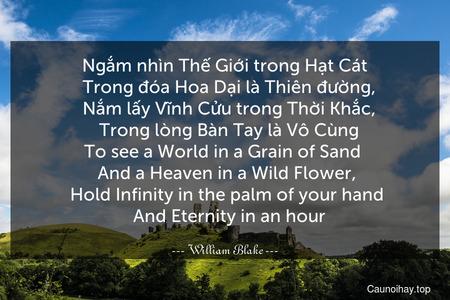 Ngắm nhìn Thế Giới trong Hạt Cát   Trong đóa Hoa Dại là Thiên đường,   Nắm lấy Vĩnh Cửu trong Thời Khắc,   Trong lòng Bàn Tay là Vô Cùng. To see a World in a Grain of Sand    And a Heaven in a Wild Flower,    Hold Infinity in the palm of your hand    And Eternity in an hour.