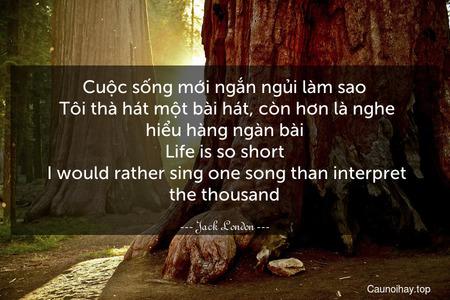 Cuộc sống mới ngắn ngủi làm sao. Tôi thà hát một bài hát, còn hơn là nghe hiểu hàng ngàn bài. Life is so short. I would rather sing one song than interpret the thousand.