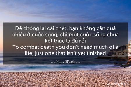 Để chống lại cái chết, bạn không cần quá nhiều ở cuộc sống, chỉ một cuộc sống chưa kết thúc là đủ rồi. To combat death you don't need much of a life, just one that isn't yet finished.