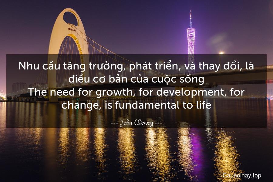 Nhu cầu tăng trưởng, phát triển, và thay đổi, là điều cơ bản của cuộc sống. The need for growth, for development, for change, is fundamental to life.