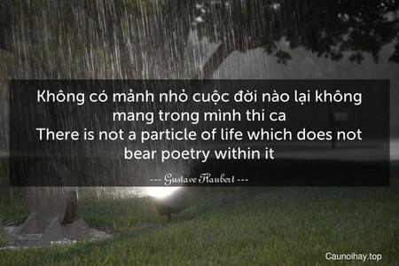 Không có mảnh nhỏ cuộc đời nào lại không mang trong mình thi ca. There is not a particle of life which does not bear poetry within it.