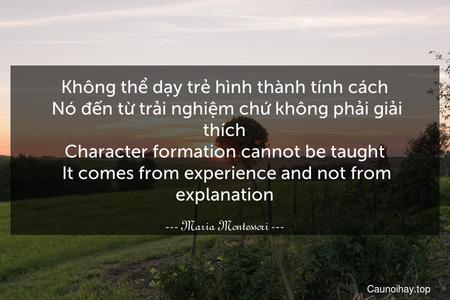 Không thể dạy trẻ hình thành tính cách. Nó đến từ trải nghiệm chứ không phải giải thích. Character formation cannot be taught. It comes from experience and not from explanation.