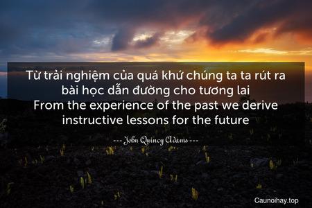 Từ trải nghiệm của quá khứ chúng ta ta rút ra bài học dẫn đường cho tương lai. From the experience of the past we derive instructive lessons for the future.