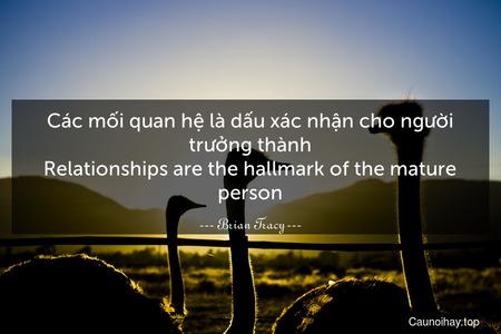 Các mối quan hệ là dấu xác nhận cho người trưởng thành. Relationships are the hallmark of the mature person.