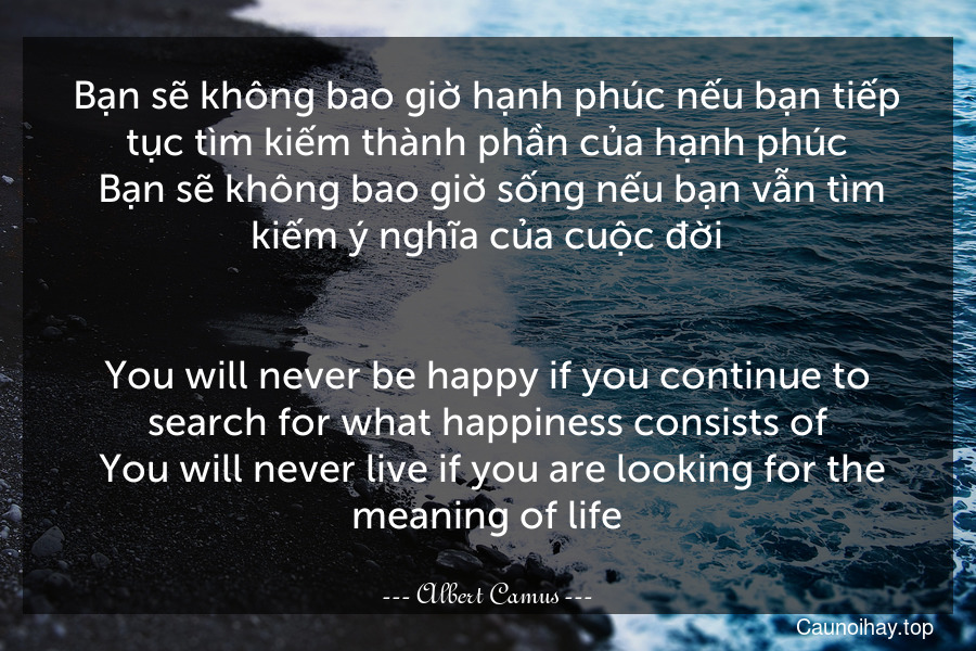Bạn sẽ không bao giờ hạnh phúc nếu bạn tiếp tục tìm kiếm thành phần của hạnh phúc. Bạn sẽ không bao giờ sống nếu bạn vẫn tìm kiếm ý nghĩa của cuộc đời. - You will never be happy if you continue to search for what happiness consists of. You will never live if you are looking for the meaning of life.