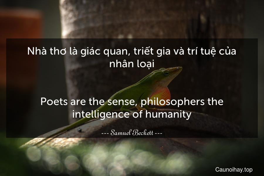 Nhà thơ là giác quan, triết gia và trí tuệ của nhân loại. - Poets are the sense, philosophers the intelligence of humanity.