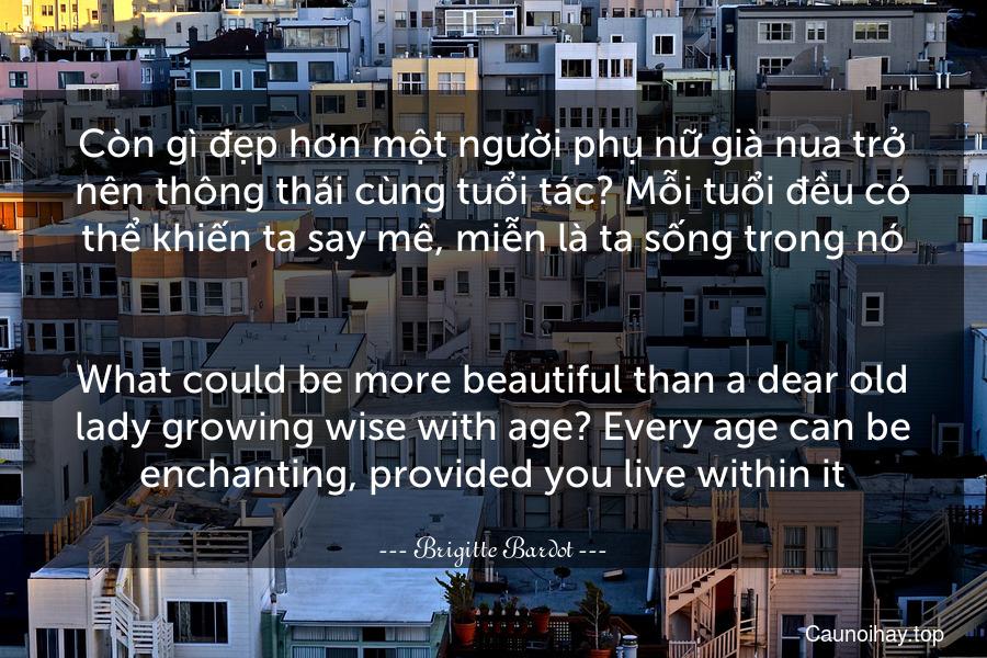 Còn gì đẹp hơn một người phụ nữ già nua trở nên thông thái cùng tuổi tác? Mỗi tuổi đều có thể khiến ta say mê, miễn là ta sống trong nó. - What could be more beautiful than a dear old lady growing wise with age? Every age can be enchanting, provided you live within it.