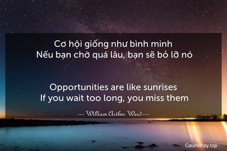 Cơ hội giống như bình minh. Nếu bạn chờ quá lâu, bạn sẽ bỏ lỡ nó. - Opportunities are like sunrises. If you wait too long, you miss them.