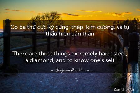 Có ba thứ cực kỳ cứng: thép, kim cương, và tự thấu hiểu bản thân. - There are three things extremely hard: steel, a diamond, and to know one's self.
