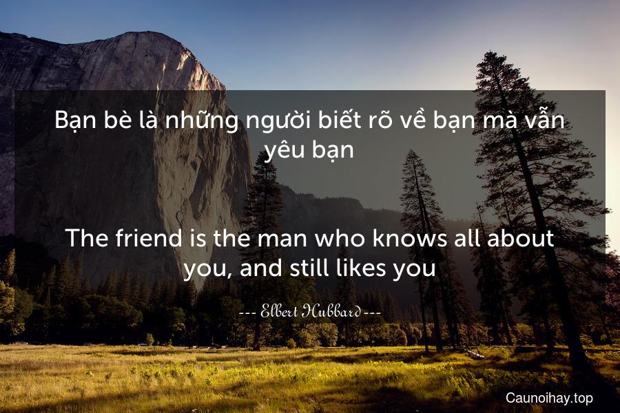 Bạn bè là những người biết rõ về bạn mà vẫn yêu bạn. - The friend is the man who knows all about you, and still likes you.