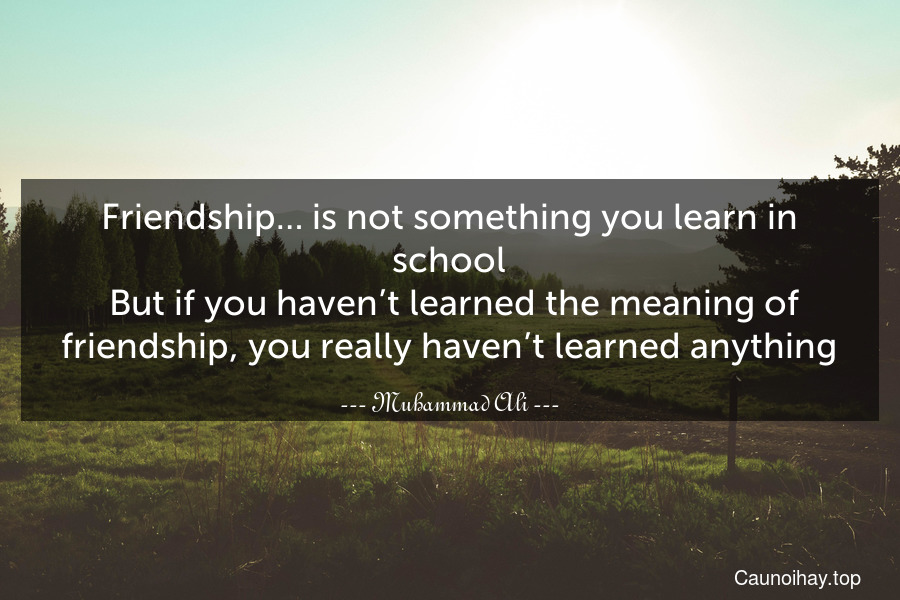 Friendship… is not something you learn in school. But if you haven't learned the meaning of friendship, you really haven't learned anything.