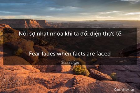 Nỗi sợ nhạt nhòa khi ta đối diện thực tế. - Fear fades when facts are faced.