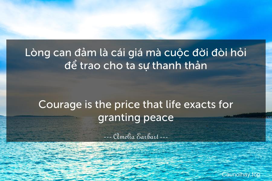 Lòng can đảm là cái giá mà cuộc đời đòi hỏi để trao cho ta sự thanh thản. - Courage is the price that life exacts for granting peace.