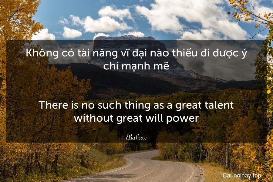 Không có tài năng vĩ đại nào thiếu đi được ý chí mạnh mẽ. - There is no such thing as a great talent without great will power.