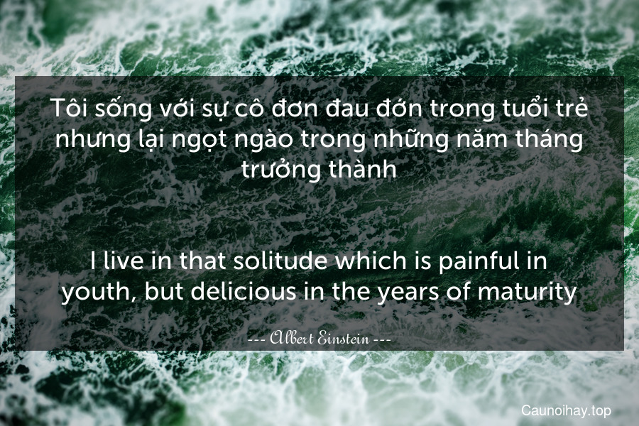 Tôi sống với sự cô đơn đau đớn trong tuổi trẻ nhưng lại ngọt ngào trong những năm tháng trưởng thành. - I live in that solitude which is painful in youth, but delicious in the years of maturity.