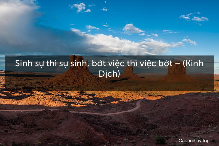 Sinh sự thì sự sinh, bớt việc thì việc bớt – (Kinh Dịch)